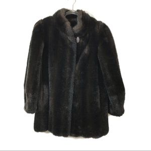 Vintage Brown Black Faux Fur Coat